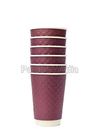 stack of disposable paper cups isolated