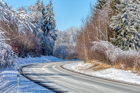 winter landscape with road in highland