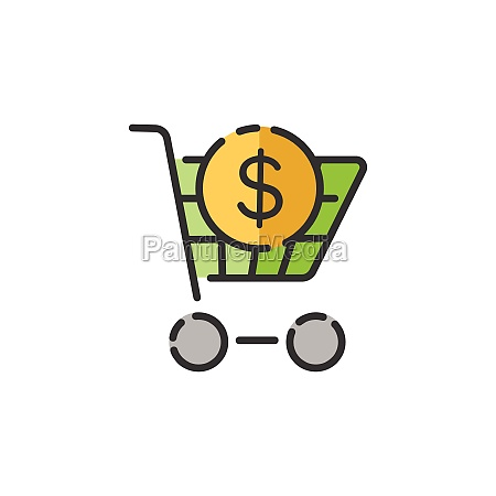 shopping cart dollar symbol filled color