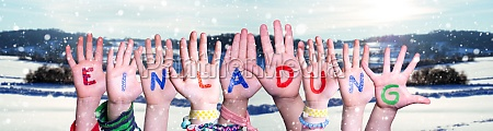 children hands building word einladung means