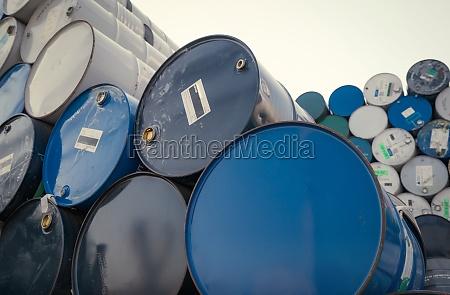 old chemical barrels blue oil drum