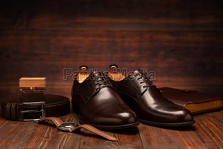 mens leather new brown shoes
