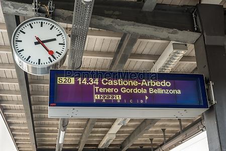 display and clock at the train