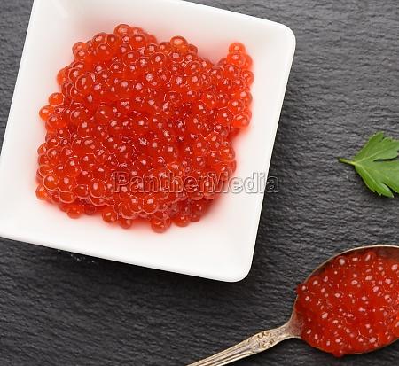 fresh grained red chum salmon caviar
