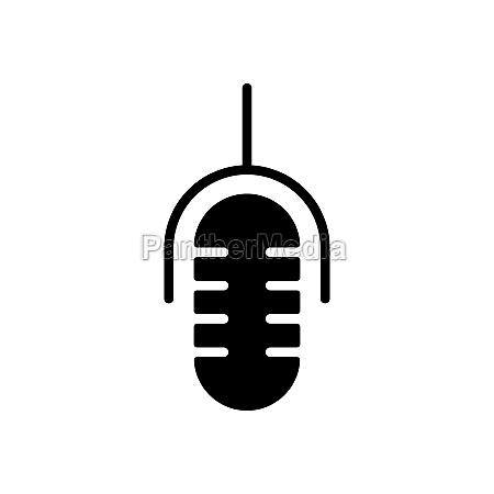 retro microphone vector flat glyph icon