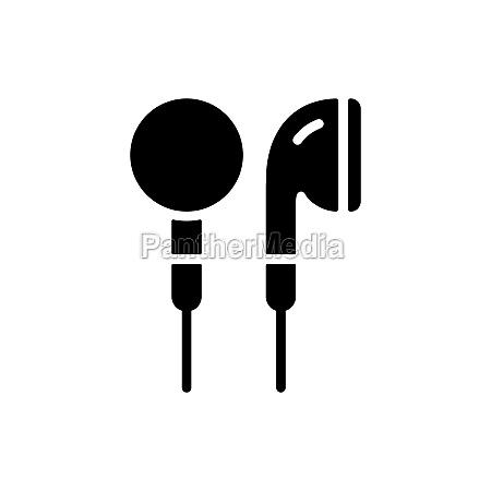 ear bud headphone vector flat glyph