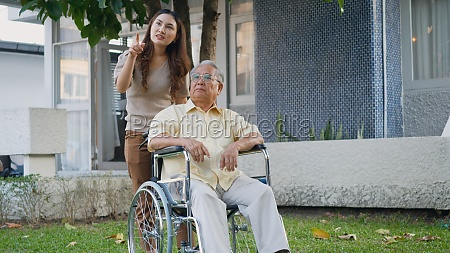 disabled senior man on wheelchair with