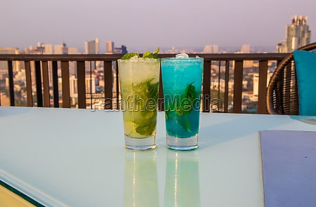 blue and green mojito in thailand