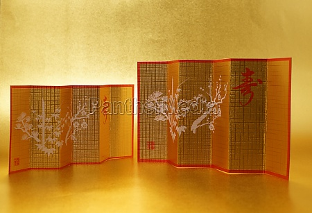 gold folding screen image new years