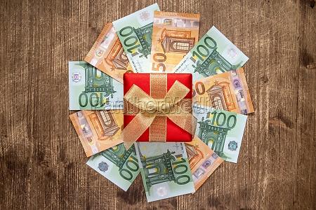 giftbox and euro banknotes
