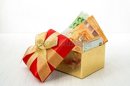 euro currency inside the gift box
