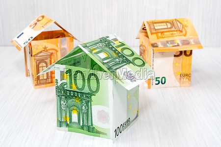 houses made from euro bills