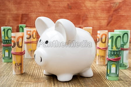 piggybank surrounded with euro banknotes