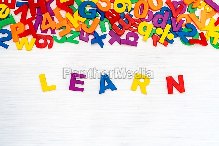 learn word made by colorful letters