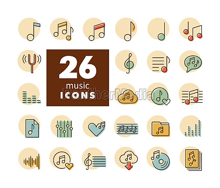 music notes flat vector icons set