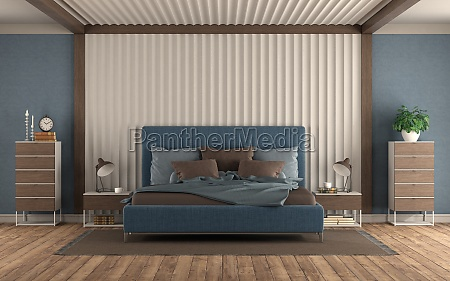 master bedroom with double bed against