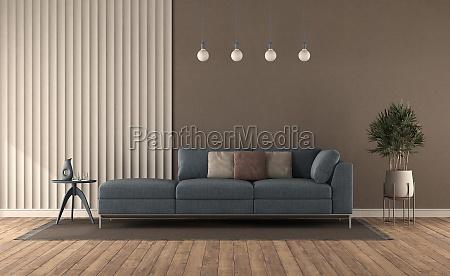 blue sofa in a modern living