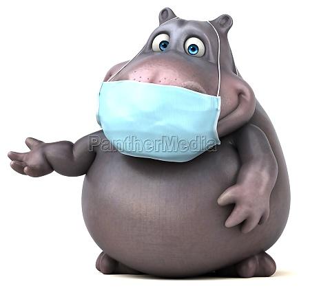 fun 3d cartoon hippo with a