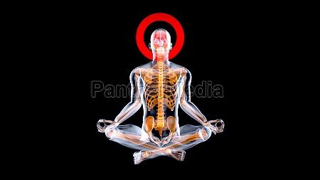 3d creative abstract zen man in