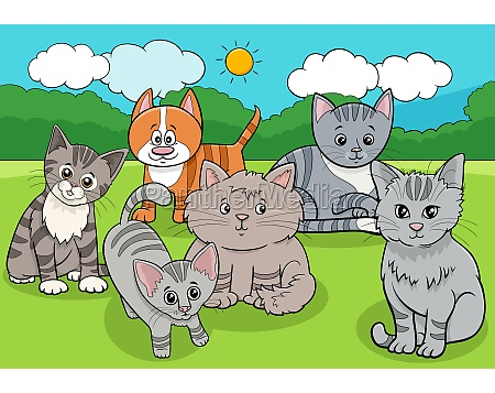 cats and kittens animals group cartoon