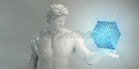businessman viewing hologram