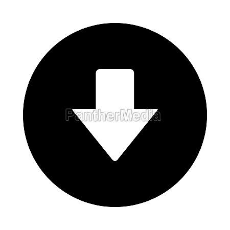 down arrow and circle