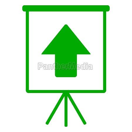 up arrow and flipchart