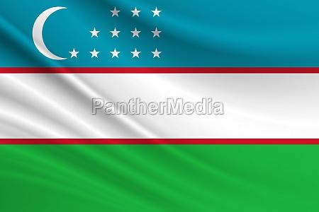 flag of uzbekistan fabric texture of