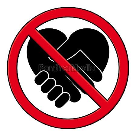 handshake forbidden pictogram black icon of