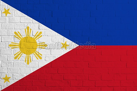 flag of philippines brick wall texture