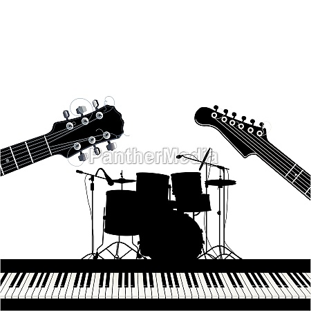 musical instruments guitars drums and piano