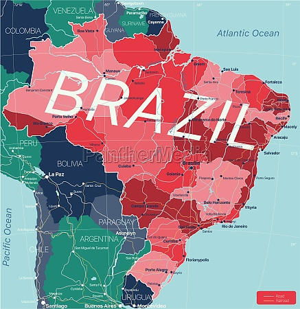 brazil country detailed editable map