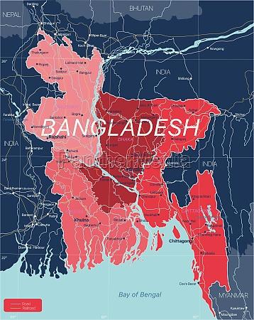 bangladesh country detailed editable map