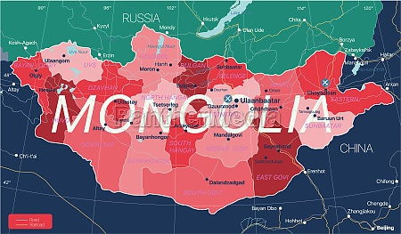mongolia country detailed editable map