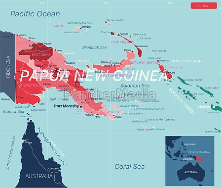 papua new guinea country detailed editable