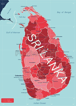 sri lanka detailed editable map