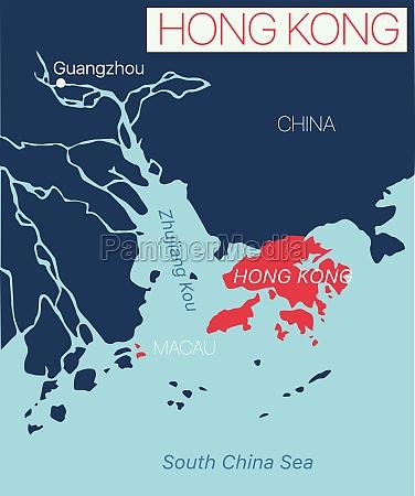 hong kong detailed editable map