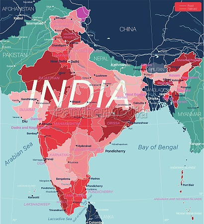 india country detailed editable map