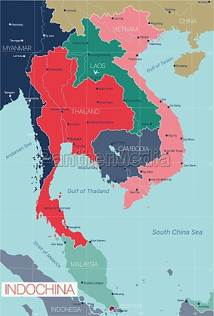 indochina detailed editable map