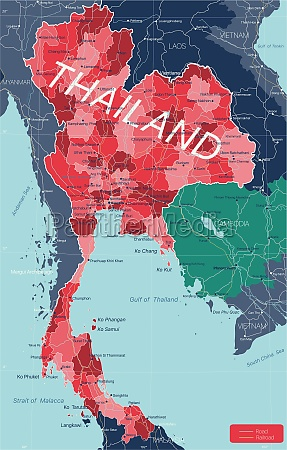 thailand country detailed editable map