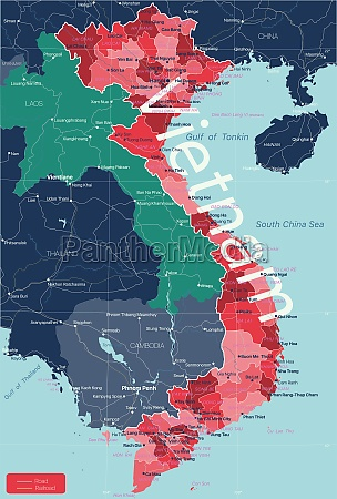 vietnam country detailed editable map