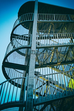 metal staircase and blue sky