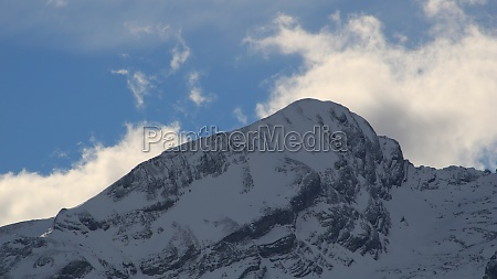 bright lit clouds over mount sanetschhorn