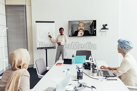businesswoman giving presentation to colleagues in