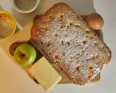 tasty apple plum cake decorated with