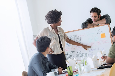 colleagues discussing ideas in office