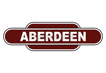 old fashioned aberdeen station name sign