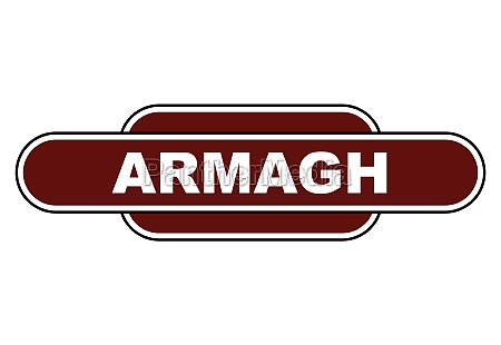 old fashioned armagh station name sign