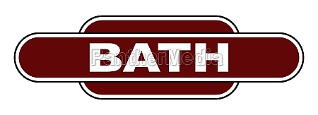 old fashioned bath station name sign