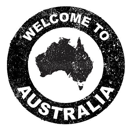 rubber ink stamp welcome to australia